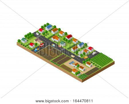 3D isometric landscape of a small town with houses and streets with trees