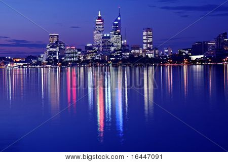 Perth Skyline from Swam River by Night