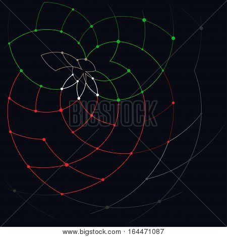 Abstract geometric pattern of the curves ,unfinished lines, nodes, abstract strawberry with leaves and stalks, wild strawberry
