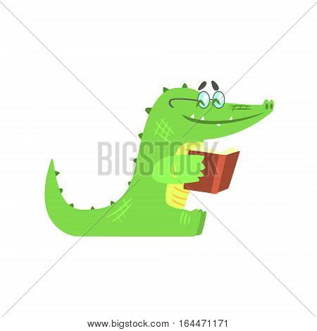 Crocodile Reading A Book , Humanized Green Reptile Animal Character Every Day Activity, Part Of Flat Bright Color Isolated Funny Alligator In Different Situation Series Of Illustrations