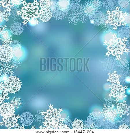 Snowflakes frame pattern vector winter snow background