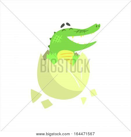 Crocodile Baby Hatching From Egg, Humanized Green Reptile Animal Character Every Day Activity, Part Of Flat Bright Color Isolated Funny Alligator In Different Situation Series Of Illustrations