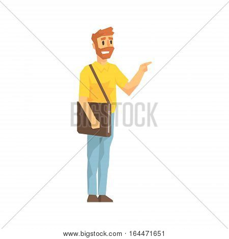 Man With Post Handbag Ringing The Door, Delivery Company Employee Delivering Shipments Illustration. Part Of Manual Laborer Loading And Bringing Items Cartoon Characters Set.