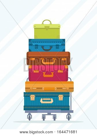 Travel stacked suitcases isolated on white background vector illustration. Journey package, colorful baggage, business travel bag, backpack, trip luggage. Travel stacked suitcases icon in flat design. Suitcase isolated sign. Cartoon suitcase collection.