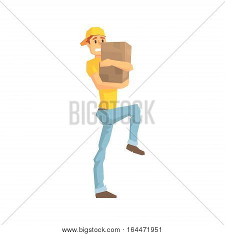 Worker Carefully Carrying A Box, Delivery Company Employee Delivering Shipments Illustration. Part Of Manual Laborer Loading And Bringing Items Cartoon Characters Set.