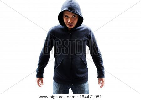 Asian male fighter isolated on white background