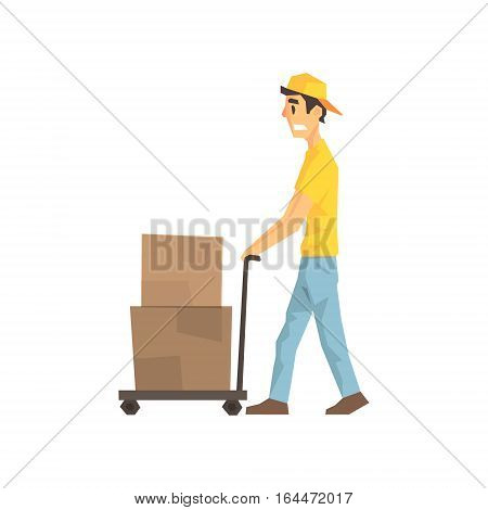 Cautious Worker With Cart An Boxes, Delivery Company Employee Delivering Shipments Illustration. Part Of Manual Laborer Loading And Bringing Items Cartoon Characters Set.