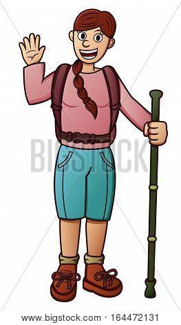 Girl Traveler with Walking Stick Cartoon Character. Vector Illustration.