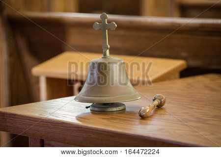 Small hand bell in a church in PEI