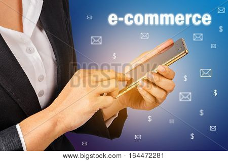 E commerce Business woman using mobile smart phone. Business comcept.