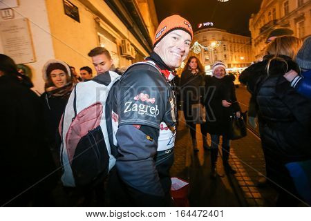 ZAGREB, CROATIA - JANUARY 4th, 2017 : Ski race of overall winners of the FIS World Cup on the ski slope in Bakaceva street, on the road from the cathedral to the main square. Ivica Kostelic leaving the ski race.