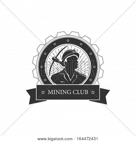 Vintage emblem of the mining industry, miner holding a pickax on a background of the sunburst, label and badge mine shaft ,mining