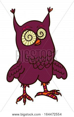 crazy owl doodle  vector illustration hand drawn