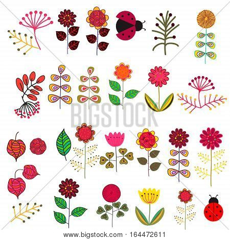 Set of doodle hand drawn cute vector flowers