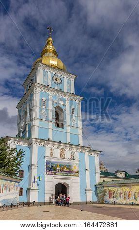 KIEV, UKRAINE - SEPTEMBER 5, 2013: Tower of the saint michael church in Kiev, Ukraine