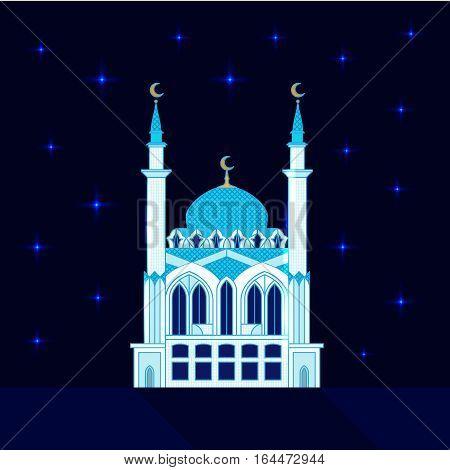Mosque at night, flat vector illustration religion symbol