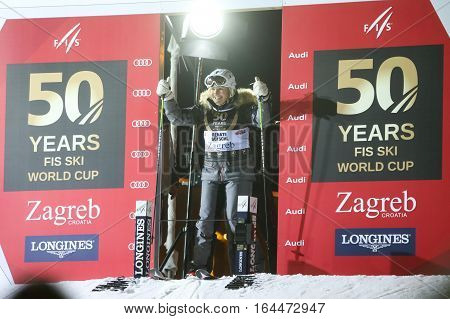 ZAGREB, CROATIA - JANUARY 4th, 2017 : Ski race of overall winners of the FIS World Cup on the ski slope in Bakaceva street, on the road from the cathedral to the main square. Renate Gotschl at the start.
