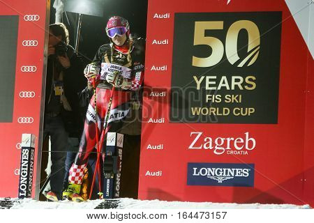 ZAGREB, CROATIA - JANUARY 4th, 2017 : Ski race of overall winners of the FIS World Cup on the ski slope in Bakaceva street, on the road from the cathedral to the main square. Janica Kostelic at the start.
