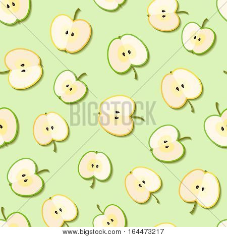 Fresh green organic apples seamless pattern. Vector illustration.