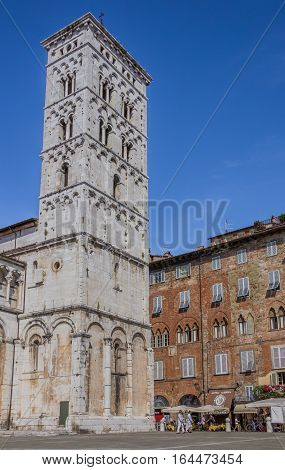 LUCCA, ITALY - AUGUST 30, 2014: Tower of the San Michele in Foro in Lucca, Italy