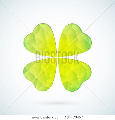 Vector green geometric clover leaf icon  background