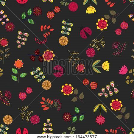 Cut doodle hand drawn flowers Seamless Pattern