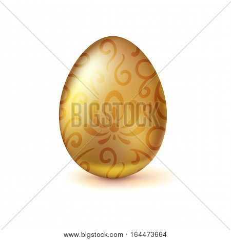 Golden egg with floral pattern. Happy Easter greeting card decorated floral elements on white background. Template for vip banners or card, exclusive certificate, luxury voucher