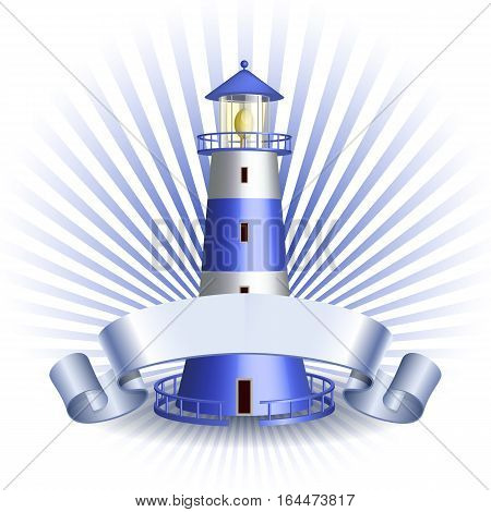 Nautical emblem with Blue lighthouse and ribbon. Marine summer travel banner. Vector illustration