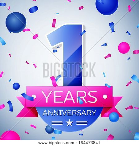 One years anniversary celebration on grey background. Anniversary ribbon