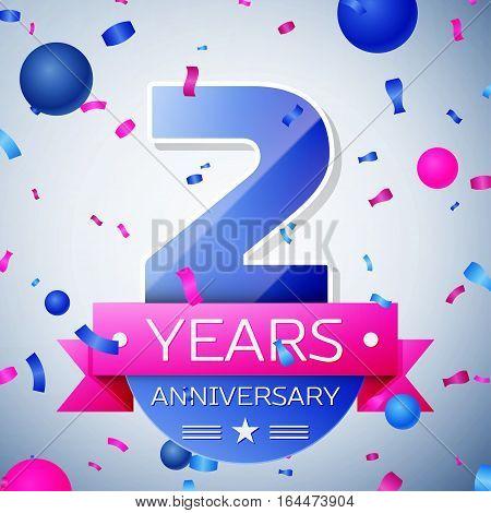 Two years anniversary celebration on grey background. Anniversary ribbon