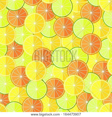 Citrus  lemon, lime and orange fruits seamless pattern