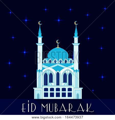 Mosque at night, flat vector illustration. Eid mubarak greeting card