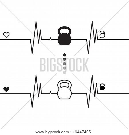 Vector EKG (heartbeat diagram) with shape of kettlebell on white background. Concept of expression healthy lifestyle.