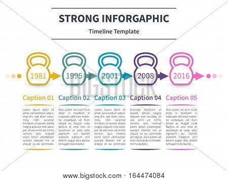 Vector infographic template. Timeline concept with kettlebell stylized elements on the white background.