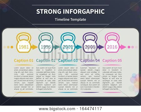 Vector infographic template. Timeline concept with kettlebell stylized elements on the dark background.
