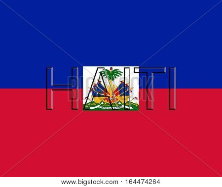 Illustration of the flag of Haiti with the country written on the flag
