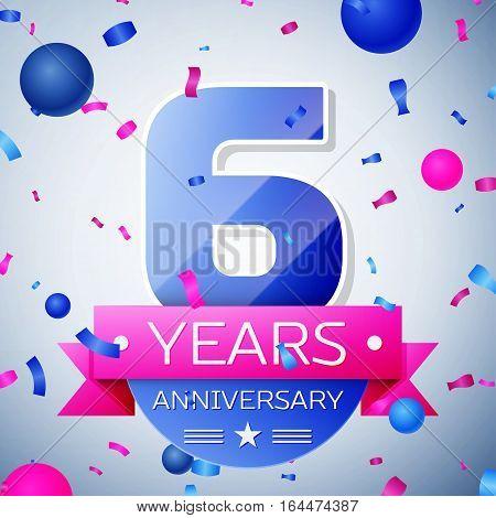 Six years anniversary celebration on grey background. Anniversary ribbon