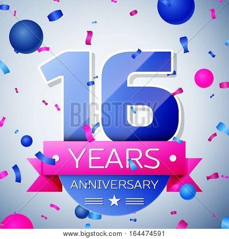Sixteen years anniversary celebration on grey background. Anniversary ribbon