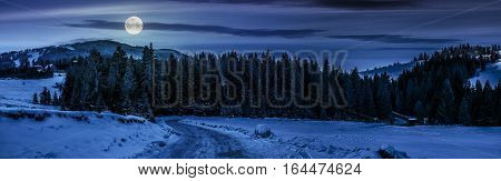 Panorama Of Snowy Road Through Spruce Forest In Mountains At Night