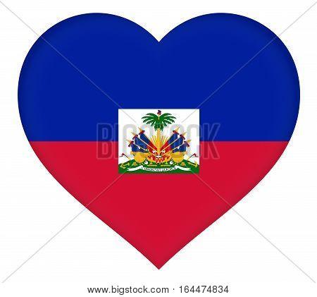 Illustration of the flag of Haiti shaped like a heart.