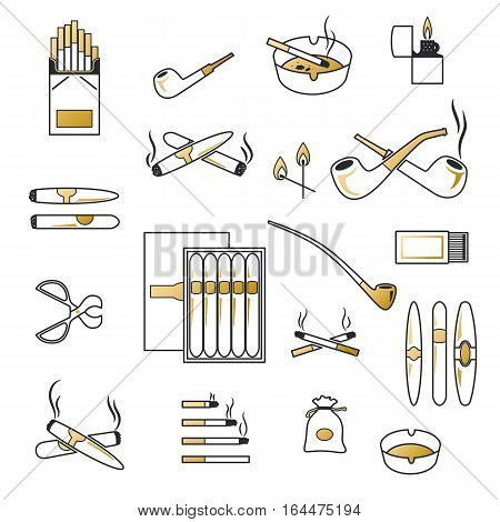 Silhouette smoking and cigarette icons vector black and white set. Lighter match ashtray illustration. Smoking objects silhouette isolated. Tobacco accessory. Addiction nicotine sign.