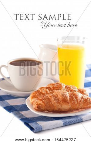 Breakfast concept isolated with coffee, orange juice and croissant
