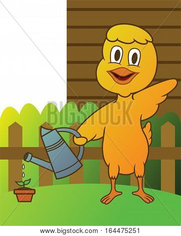 Little Chicken Watering Plant Cartoon Animal Character. Vector Illustration.