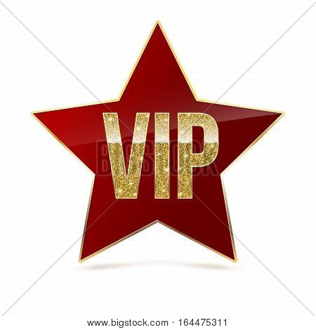 Red five-pointed star with Golden edging and the inscription VIP. Sign of exclusivity and elitism with bright, Golden glow. Template for vip banners or card, exclusive certificate, luxury voucher