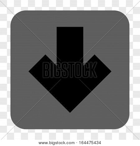 Arrow Down interface toolbar button. Vector icon style is a flat symbol on a rounded square button black and gray colors chess transparent background.