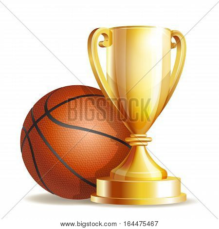 Golden trophy cup with a Basketball ball isolated on white background. Vector illustration