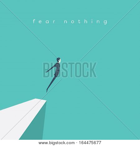Business concept of courage. Businessman jumping off a cliff as sign brave leadership and step forward. Eps10 vector illustration.