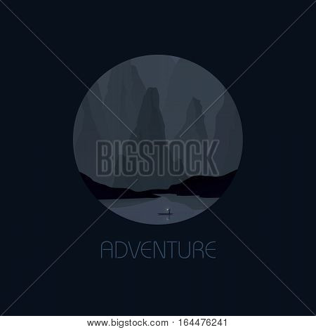 Southeast Asia landscape vector illustration with rocks, cliffs and sea at night. China or Vietnam tourism promotion. Eps10 vector illustration.