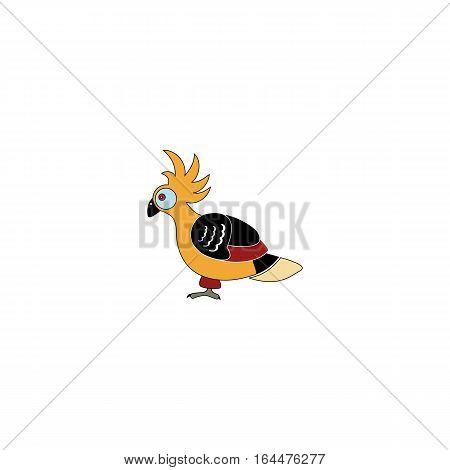 Cartton style hoatzin bird isolated on a white backgorund.