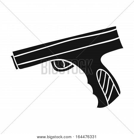 Paintball hand gun icon in black design isolated on white background. Paintball symbol stock vector illustration.